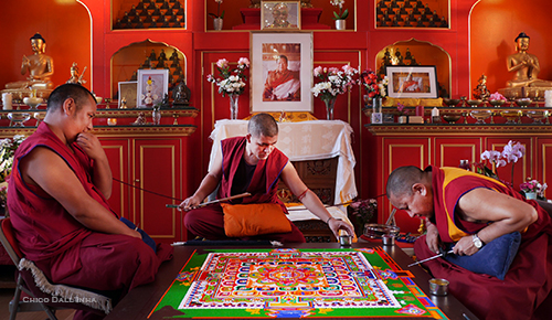 Tahsi Lhunpo Monks building a Mandala at Kagyu Samye Dzong London